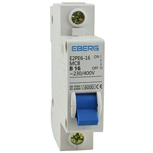 5x EBERG E2PE6-16 16A Sicherungsautomat B16 Leitungsschutzschalter 230/400V Sicherung MCB für Sicherungskasten mit Hutschiene