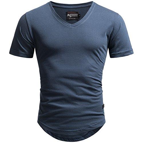 A. Salvarini Herren Designer T-Shirt Kurzarm Oversize Sommer Shirts Basic V-Ausschnitt V-Neck Rundhals [AS-077-Navy-Gr.S]