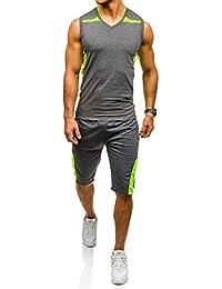 BOLF – T-shirt de sport – Short de sport – Survêtement – Sport – Jogging – Motif – Homme 8H8