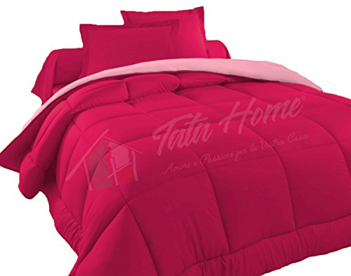 tata home - judit trapunta tinta unita duble face invernale imbottita 350 gr/mq 100% morbida microfibra di poliestere misura 2 piazze letto matrimoniale 260x260 cm colore rosa fucsia