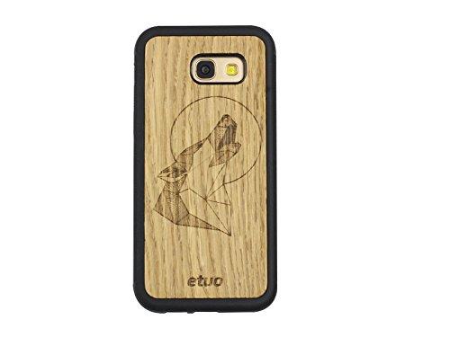etuo Samsung Galaxy A5 (2017) - Hülle Wood Case - Wolf - Eicheholz - Handyhülle Schutzhülle Etui Case Cover Tasche für Handy