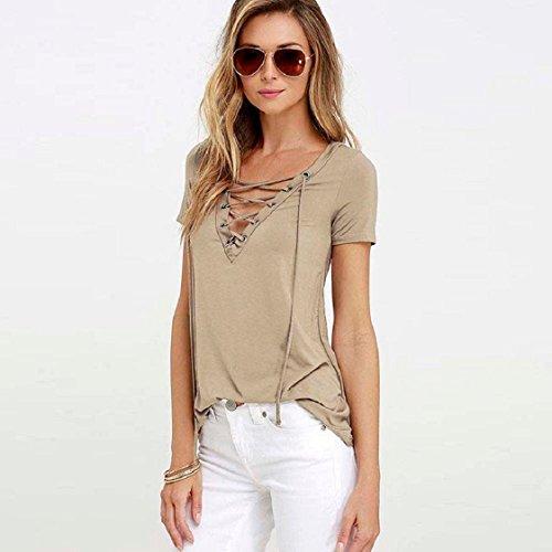 Culater® Tops Mode Femmes Sexy T-shirt à manches Courtes Blouse Kaki
