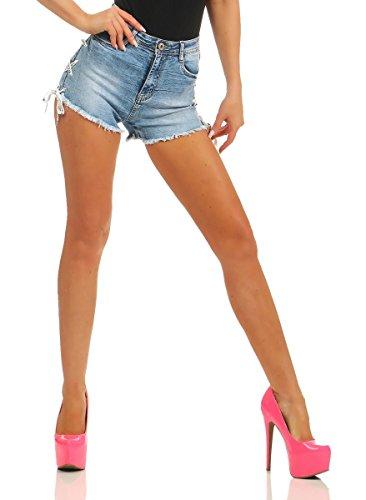 10930 Fashion4Young Damen Jeans Hotpants Denim Shorts kurze Hose Hot Pants Jeans High-Waist Stretch (hellblau, XL=42)