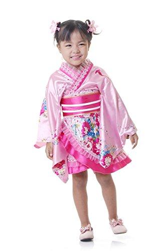 Kostüm Kinder Geisha Cosplay Kimono Kleid Faschingskostüm (Geisha Mädchen Rosa Kostüme)