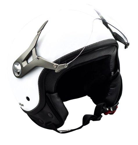 SOXON SP-325-MONO Snow · Jet-Helm Helmet Scooter-Helm Cruiser Vintage Motorrad-Helm Pilot Bobber Mofa Retro Vespa-Helm Roller-Helm Chopper Biker · ECE zertifiziert · mit Visier · inkl. Stofftragetasche · Weiß · S (55-56cm)