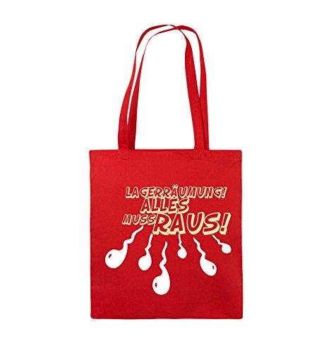 Comedy Bags - Lagerräumung alles muss raus! - Jutebeutel - lange Henkel - 38x42cm - Farbe: Schwarz / Weiss-Neongrün Rot / Weiss-Beige