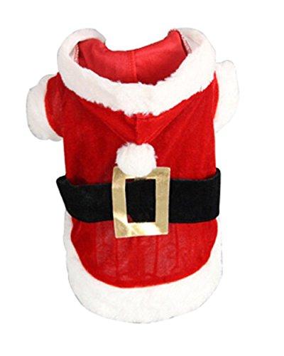zoonpark® Hund Kleidung, Weihnachten Baumwolle Haustier Kleidung Winter Kleid/Shirt Hoodie Coat Rot Kleidung für kleine oder Mittelgroße Hund Pet Kleidung Chihuahua Yorkshire Pudel