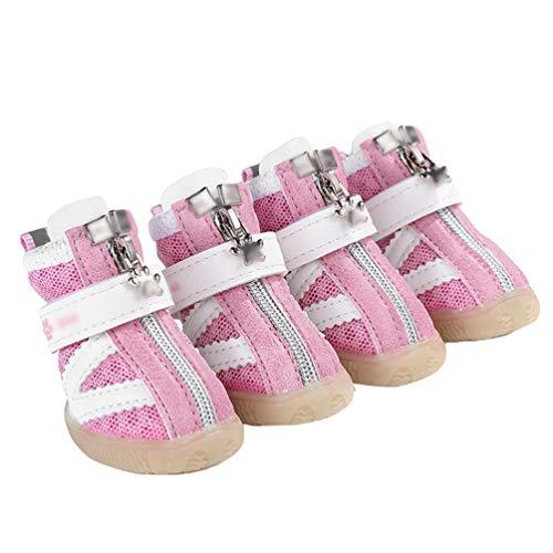 Kuncg Botas Protector Antideslizante De La Pata De Animal Doméstico del Perro De La Malla Transpirable Cómodo Encantador Zapatos Casuales del Perrito Que Caminan Rosa 2