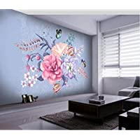 Wall Murals 3D Wallpaper Nordic Minimalist Hand-Painted Floral Butterfly Marbled Background Wall Painting Living Room Sofa Tv Wall Bedroom Wallpaper-250Cmx175Cm