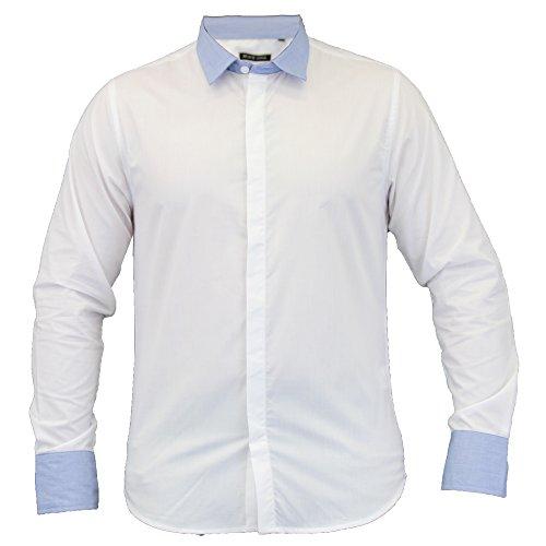 Herren Langärmlig Formelle Hemden By Brave Soul weiß/Blau - 69FRANCIS