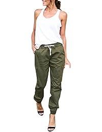 OverDose,Femme Pantalon Carotte Jogging Basique Taille Haute Avec Ceinture  Casual Cargo Trousers 5488de96c73