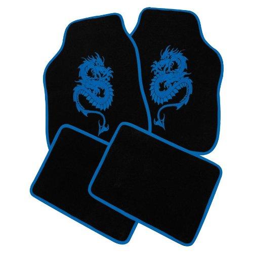 Petex 13680005 Autoteppich Universal Dragon, 4-teilig, blau