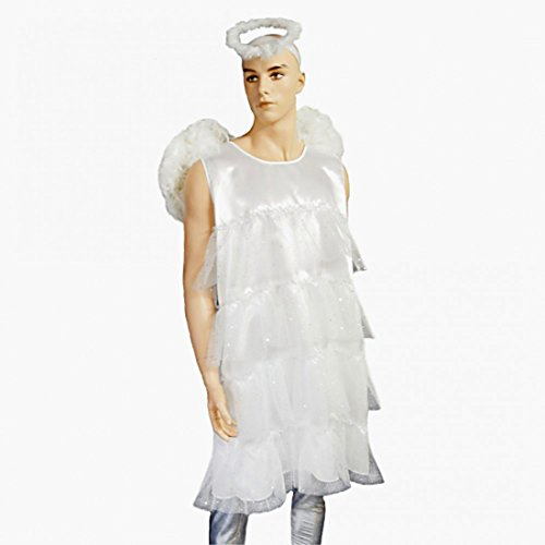 Herren Kostüm Engel Gr. XL Männerballett Kleid weiß Fasching Karneval (Weiß Engel Kleid)