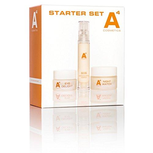 A4 - STARTER SET   Anti-Aging Beauty-Set   Kosmetik mit Arganöl   mit 3 Produkten und zusätzlichen Proben (Nachtpflege, straffendes Augengel, Anti-Aging Gesichtspflegeöl und Reinigungspeeling)
