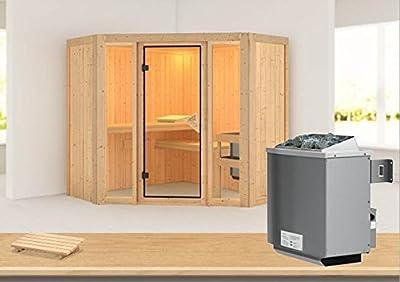 Flora 1 - Karibu Sauna inkl. 9-kW-Ofen - ohne Dachkranz - von Woodfeeling GmbH bei Du und dein Garten