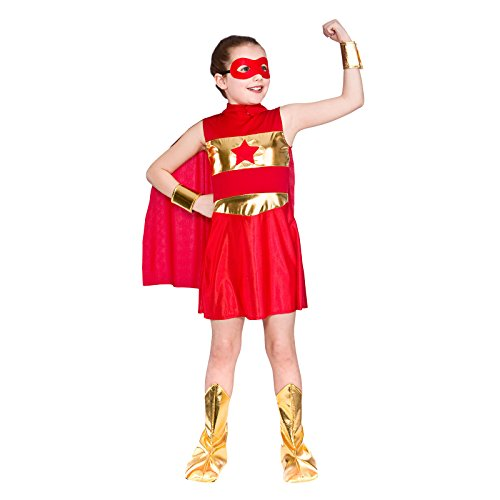 GIRLS RED AVENGING SUPER HERO FANCY DRESS COSTUME (Wonder Woman Kostüme Ideen)
