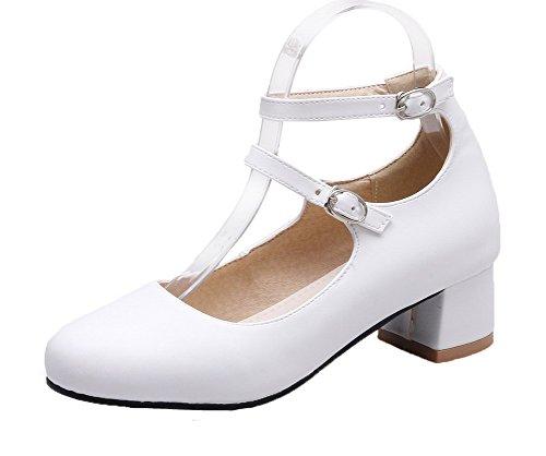 VogueZone009 Femme Boucle Rond à Talon Bas Pu Cuir Couleurs Mélangées Chaussures Légeres Blanc