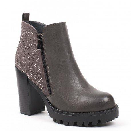 Ideal Shoes - Bottines bi-matière avec strass Paulette Gris