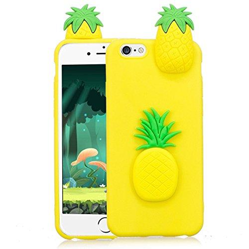 Cover iPhone 6s Custodia iphone 6 Silicone 3D Cartoon Leton Morbido TPU Gel Case per Apple iPhone 6s / 6 (4.7 pollici) Ultra Sottile Flessibile Satinato Gomma Caso Anti Graffio Antiurto Protettiva Bum Ananas Giallo