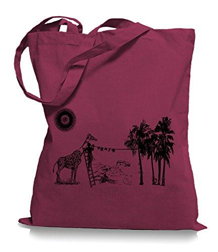 Ma2ca® Wash Day - Jutebeutel Stoffbeutel Tragetasche / Bag WM101 Cranberry