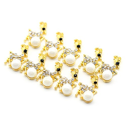 Five Season 10 pcsBling Decoration Perles Cristal Accessoire Creux Alliage Nail Art Manucure Forme Cerf, 1.6*1cm, Or