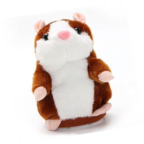 (VDK Weichem Plüsch Talking Hamster Spielzeug Nicken Chat Buddy Maus Pet, Kann wiederholt, was Sie Sagen, 15x 10cm, Hellbraun, 15x 10cm)