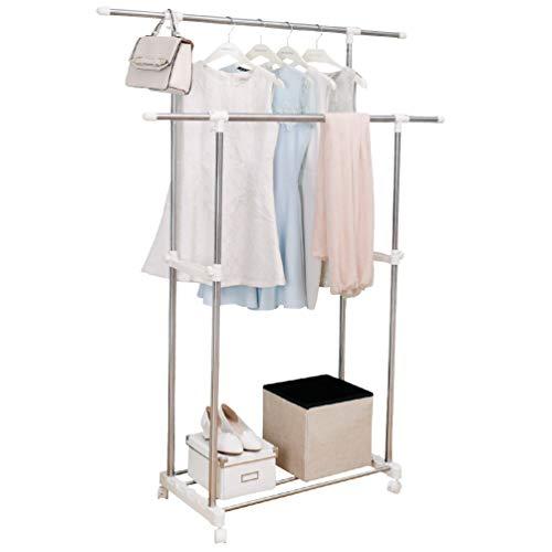 BAOYOUNI Kleiderständer, doppelstöckig, robust, bewegliche Kleiderstange, verstellbare Höhe und Länge, Wäsche-Organizer auf Rädern, mit Metallablage für Schuhboxen, elfenbeinfarben