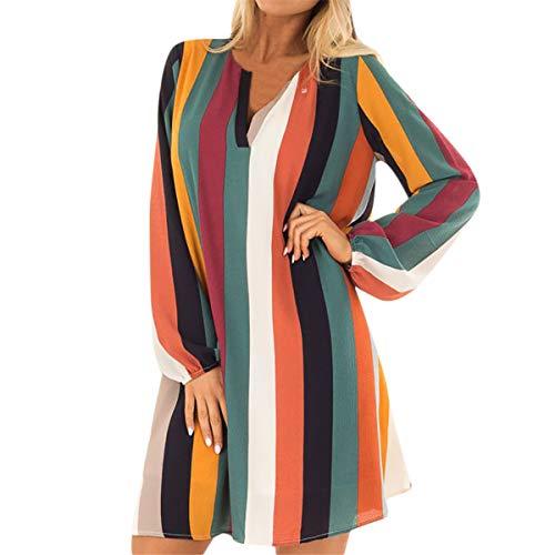 B-commerce Fashion Tops Kleider - Damen Casual V-Ausschnitt Split Striped Printed Long Puff Sleeve Camo Party Minikleid -