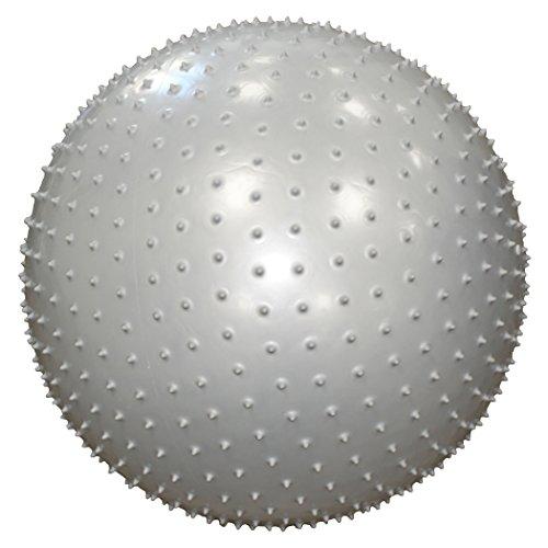POWRX Gymnastikball Silber 55cm mit Massage Noppen inkl. Pumpe | Sitzball für einen GESUNDEN Rücken | Yogaball Fitnessball ideal für Büro und zu Hause