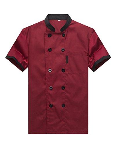 Waiwaizui giacche da chef manica corta rosso