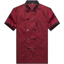62aa3bdac2 WAIWAIZUI Camisa de Cocinero Cocina Uniforme Manga Corta