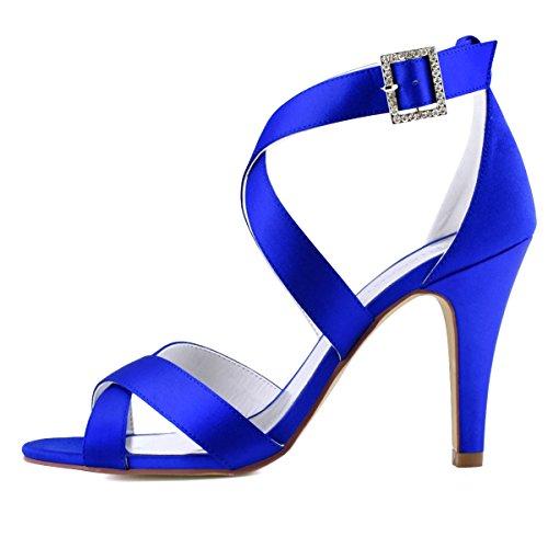 Elegantpark Hp1705 Femme Peep Toe Stiletto Stiletto Talon Sandales Avec Lanières Boucle Satin Parti Chaussures De Mariée Bleu