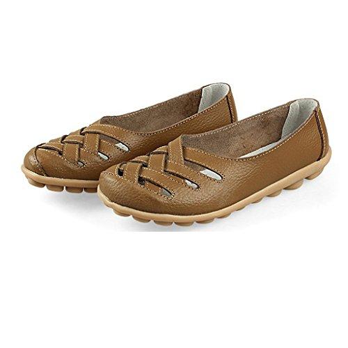 Barco Chinelos Sapatos Senhoras Virar Oriskey Sapatos Ligeiramente Baixos Marrom De Sapatos Mocassins Moccasin Couro rxrEwq0vZ