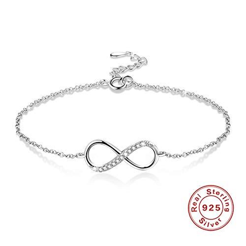 DEQIAODE Infinity Armband, Symbol Ich Liebe Dich für Immer, Damen Armband 925 Sterling Silber Zirkonia Armkette Verstellbar Charm Armband