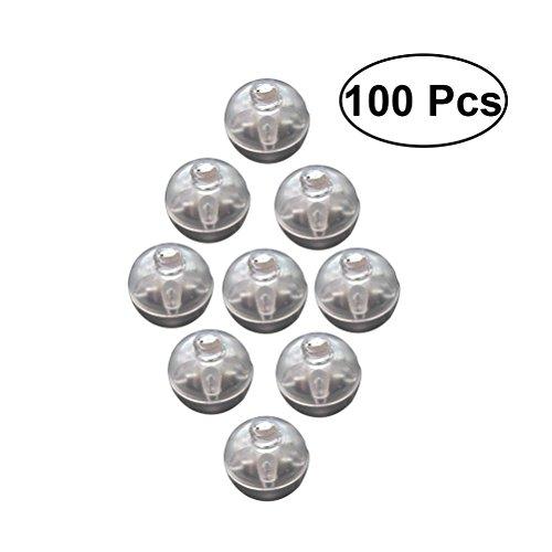Toyvian LED Ballons Lichter Mini Runde Ballon Lampe Roly-Poly Ornament für Halloween Weihnachten Hochzeit Geburtstag Party Dekoration 100 STÜCKE (Weiß) -