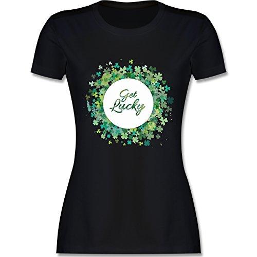 Kleeblatt Glück St. Patrick's Day - M - Schwarz - L191 - Damen T-Shirt Rundhals (Patrick Wie Ein Mädchen)