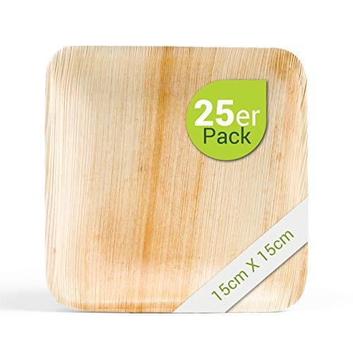Leef® Bio Palmblattgeschirr - 25 Stück Palmblatt Teller quadratisch 15x15 cm - Einweggeschirr hochwertig, unbehandelt, biologisch abbaubar & nachhaltig Wegwerfgeschirr Einwegteller