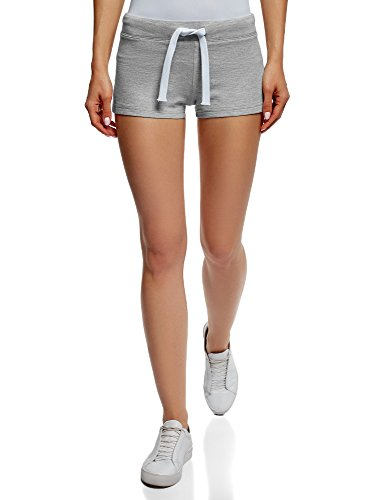 oodji Ultra Damen Jersey-Shorts Basic, Grau, DE 34/EU 36/XS (Grau Hose Baumwolle Schlafen)