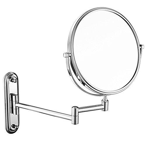 GuRun 1 /5-Fach Vergrößerung Doppelseitiger Wand Kosmetikspiegel,Ø rund 15cm, verchromt, M1206(6in,5x)