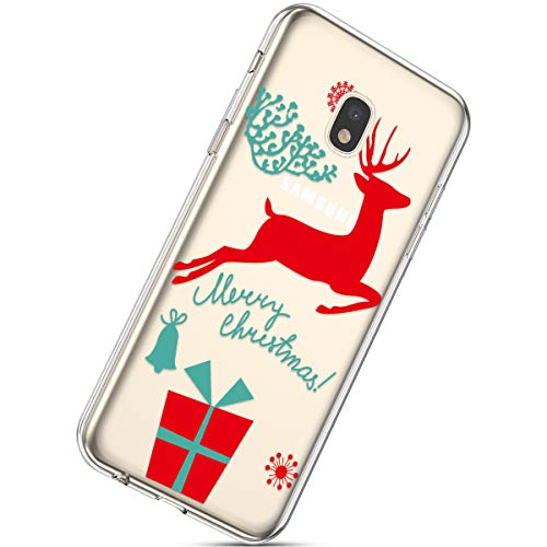 Handytasche Samsung Galaxy J3 2018 Crystal Clear Durchsichtige Hülle Ultradünn Transparent Handyhüllen TPU Bumper Case Silikon Hülle Cover,Weihnachten Hirsch