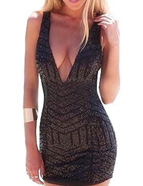 Falda de Verano Mujer Lápiz Bodycon Vestido Manera Lentejuelas Club Mini Vestidos de Partido Coctel Sexy V Profundo...