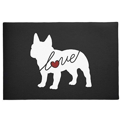 Gummi-Fußmatte für den Innenbereich, Motiv: Love- Französische Bulldogge, rutschfest, für Zuhause, Küche, Tür, Teppich, 60x 40cm (Französisch Tür-willkommen-matte)