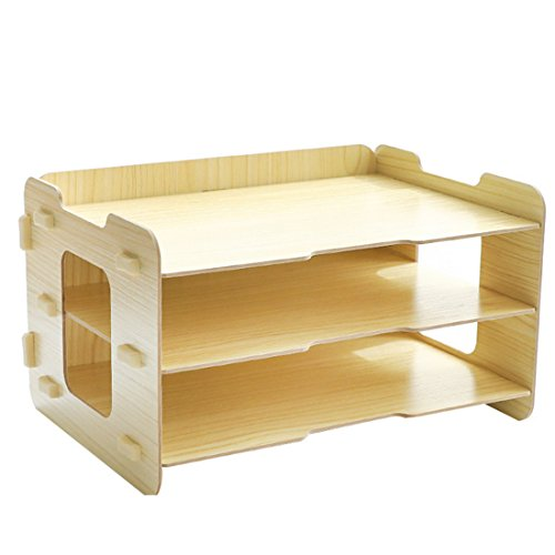 Tisch Organizer, Vicoki 4 Fächer A4 Briefablage Büro Schreibtisch Organizer Briefkorb Office Desktop Organizer Caddy Aufbewahrung (Holzfarbe 3 Fächer)