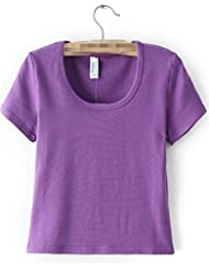 RYCJ-Mujeres Europeas Apretado Vientre Cintura T T-Shirt Corto T Chaqueta - Simple S Azul Cielo