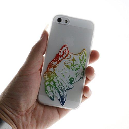 Coque iphone 7 plus Coque Silicone Souple Motif Original, Meet de Givré Coque TPU Slim Bumper [Shock-Absorption Bumper et Anti-Scratch Effacer Back] pour iphone 7 plus Souple Housse de Protection Flex Tête de loup