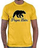 HARIZ  Herren T-Shirt Papa Bär Papa Vater Geburtstag zur Geburt Inkl. Geschenk Karte Gold Gelb XL
