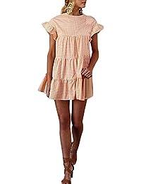QUICKLYLY Mujer Señoras Tartán Impresión Cuello Redondo Manga Corta Vestir Mini Vestido