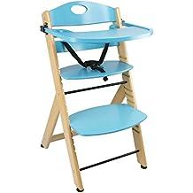 Chaise Haute Avec Plateau En Bois Bleu Naturel Bb Escalier Solide Et Stable Qualit