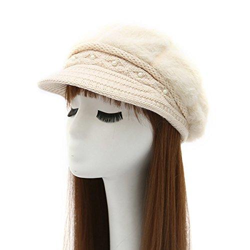 Automne Et Jours D'hiver Mme Plus Velours Chapeau Chaud De Perles Chapeau Tricoté Chapeau Avant Bouchon De Plein Air Voyage Beige