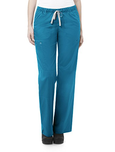 WonderWink Women's Petite-Plus-Size Wonderwork Straight Leg Cargo Scrub Pant, Teal Blue, 2X-Large -